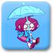 漂动的雨伞女孩