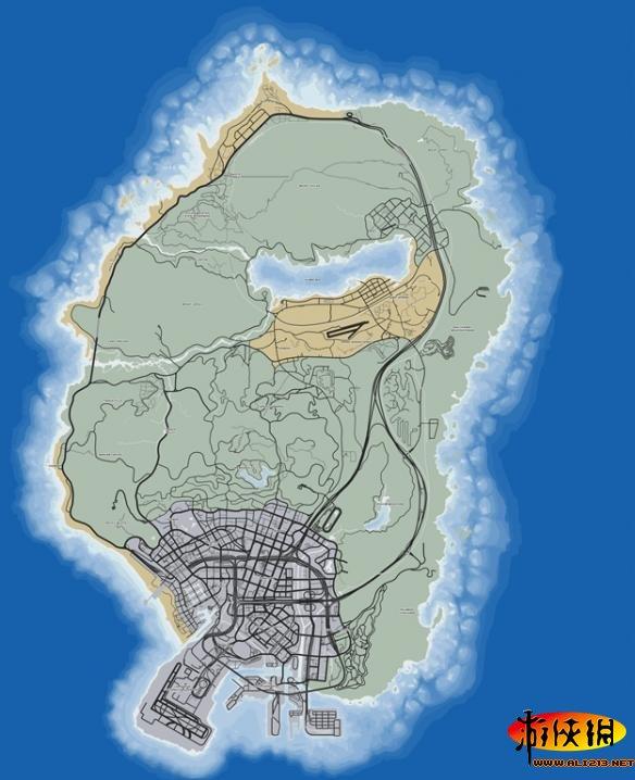 《侠盗猎车手5(gta5)》游戏高清全景卫星道路大地图一览图片
