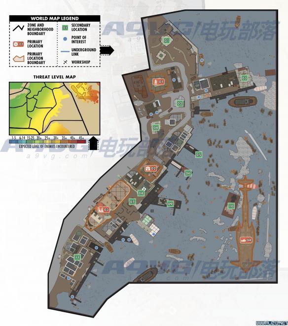 《辐射4》世界地图全区域及怪物等级分布18个位置分享