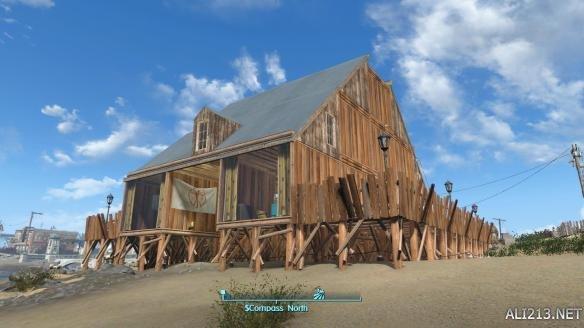 《辐射4》海边小木屋建造图内外景观图览