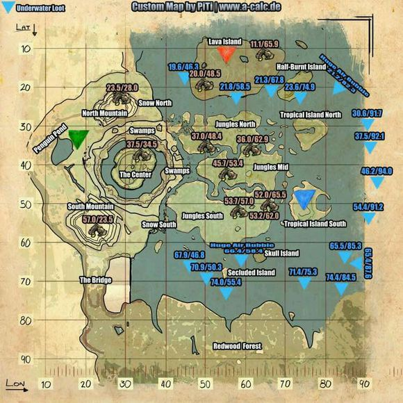 The Island Underwater Cave Locations Map