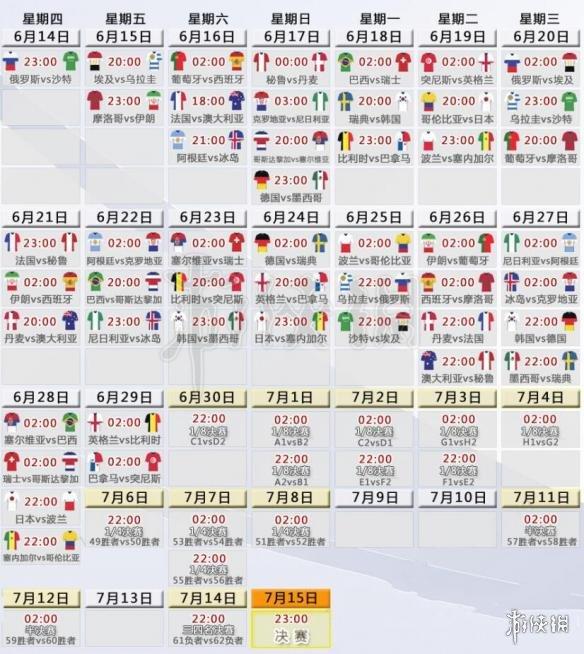 2018俄罗斯世界杯北京时间赛程表 614世界杯比赛开幕时间