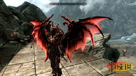 上古卷轴5 红色火焰花纹恶魔甲以及独立翅膀mod