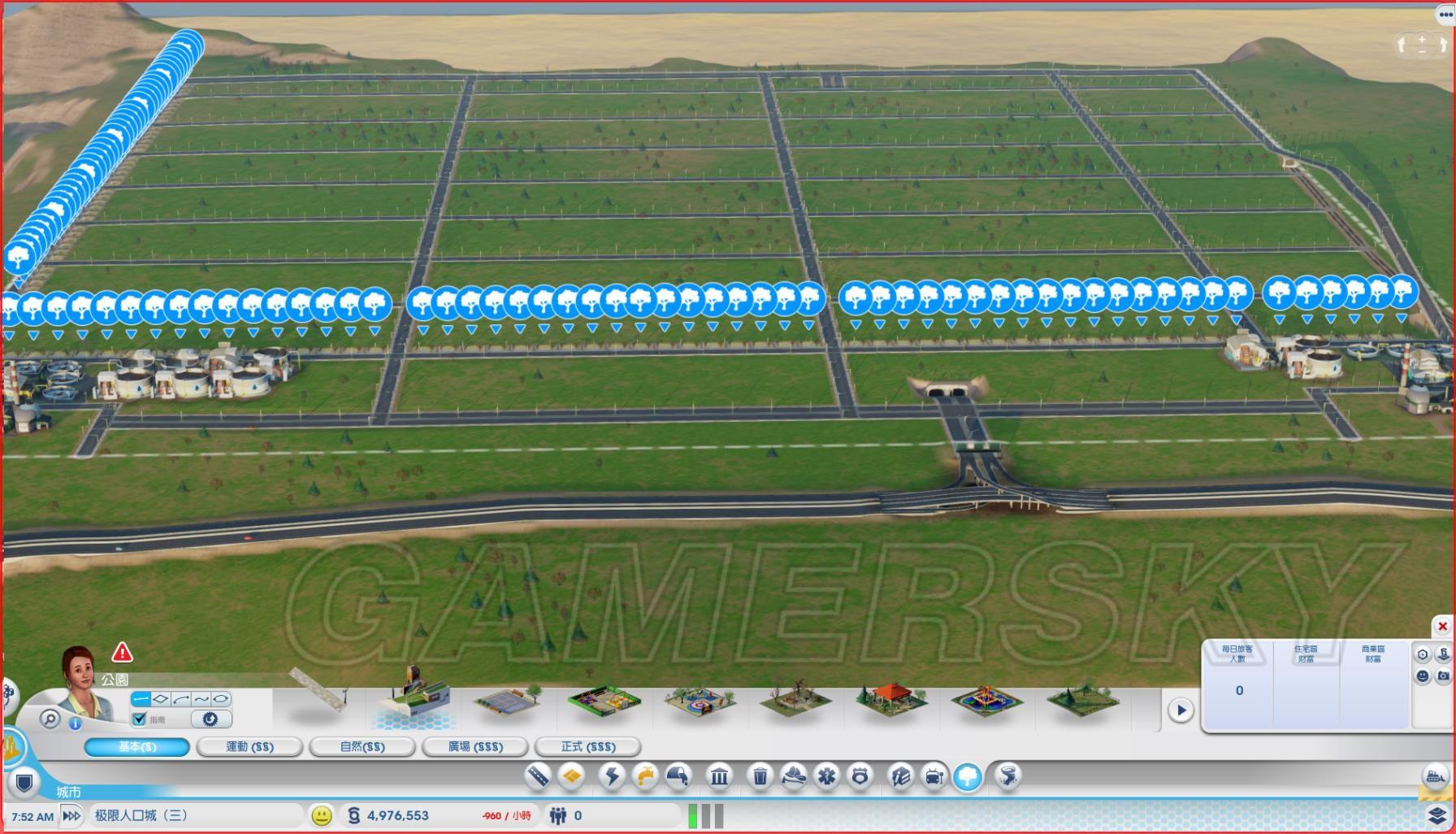 04,再修纵向街道,路间距17个柏油路公园,城市中间可修3条纵向街道