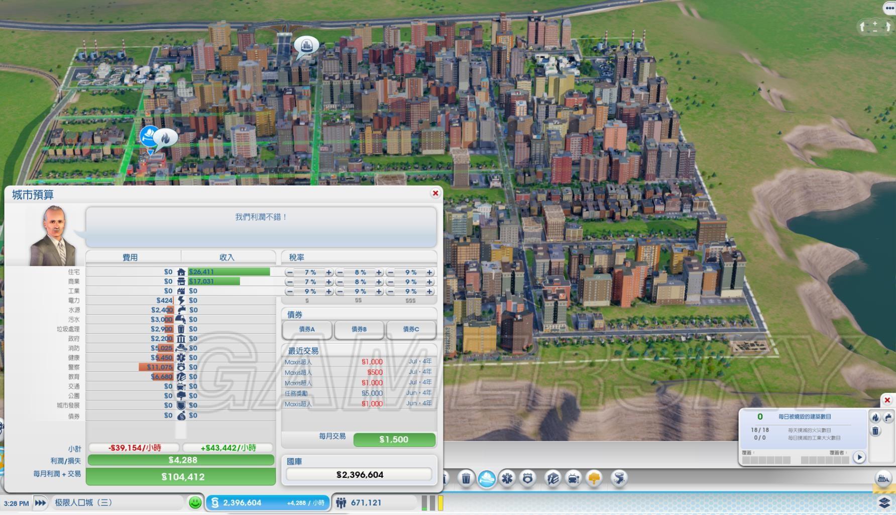 模拟城市4怎样发展能使人口达到10万以上