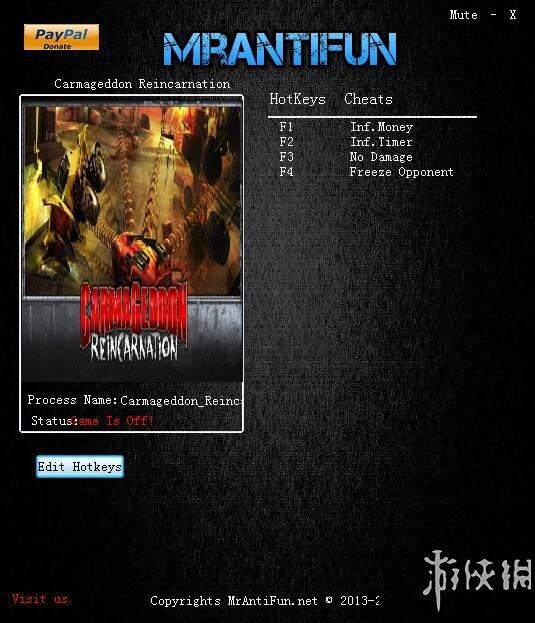 死亡賽車:再生(Carmageddon: Reincarnation)v1.2.1.7713四項修改器MrAntiFun版
