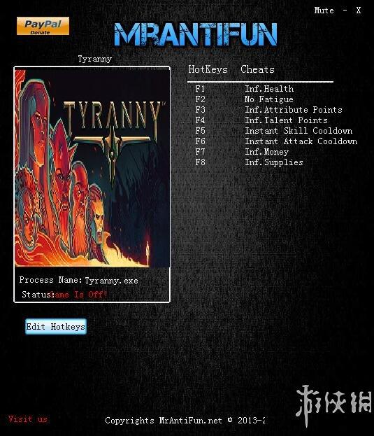 暴君(Tyranny)v1.0.0.0008八項修改器MrAntiFun版