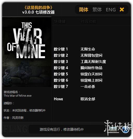 我的戰爭(This War Of Mine)v3.0.0七項修改器風靈月影版