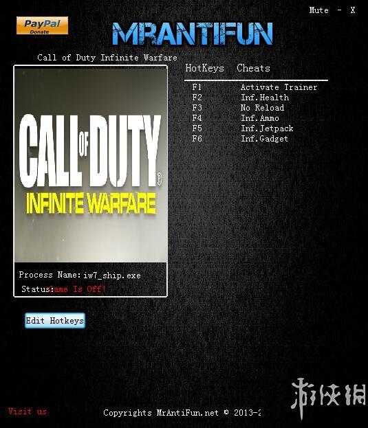 決勝時刻13:無限戰爭(Call Of Duty: Infinite Warfare)v1.0五項修改器MrAntiFun版