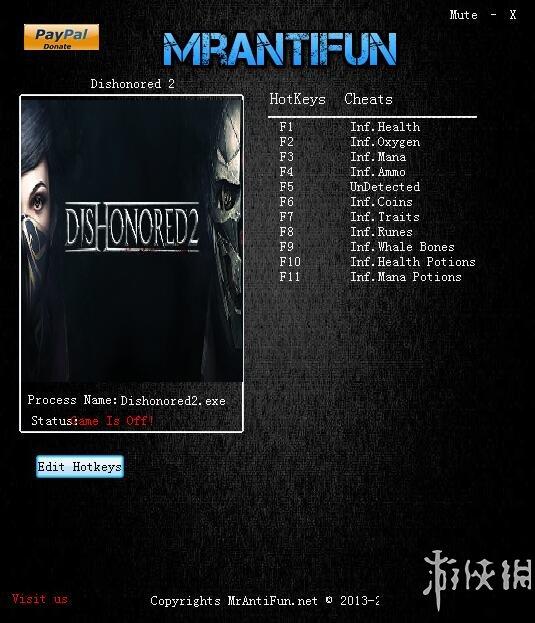 冤罪殺機2(Dishonored 2)v1.75十一項修改器MrAntiFun版