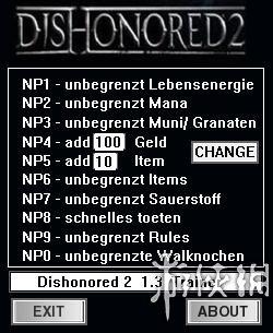 冤罪殺機2(Dishonored 2)v1.3十項修改器dR.oLLe版