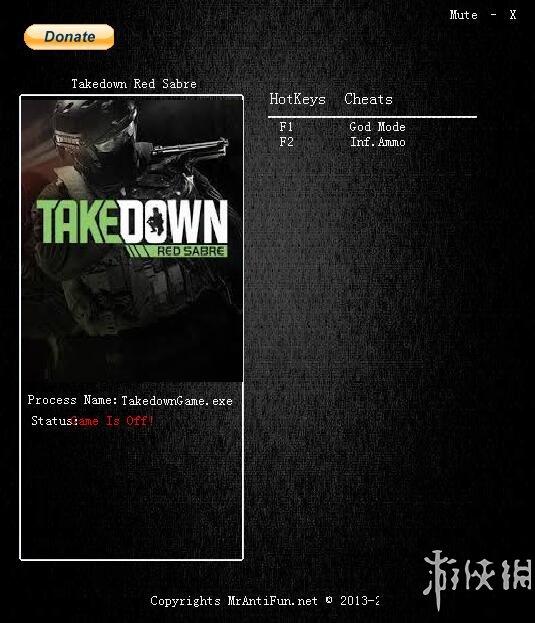 反恐行動:紅色利劍(Takedown: Red Sabre)v1.00兩項修改器MrAntiFun版