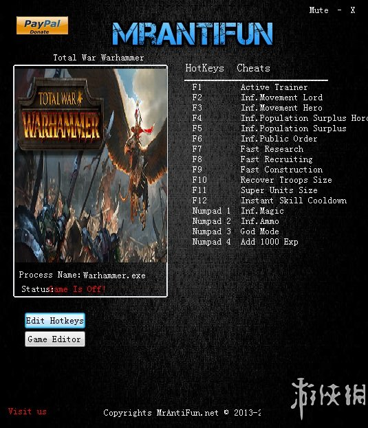 戰錘:全軍破敵(Total War: WARHAMMER)v1.5.0B12678十七項修改器MrAntiFun版
