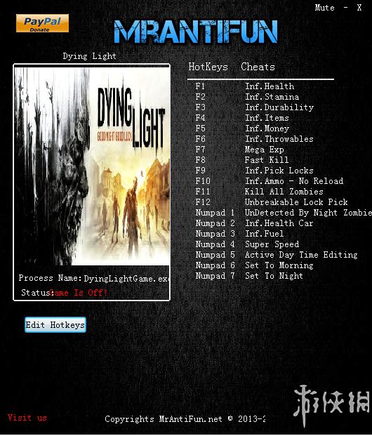 垂死之光:信徒增強版(Dying Light: Enhanced Edition)v1.16.0十九項修改器MrAntiFun版