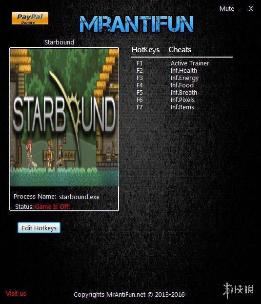 星界邊境(Starbound)v1.3.0六項修改器MrAntiFun版[32位]