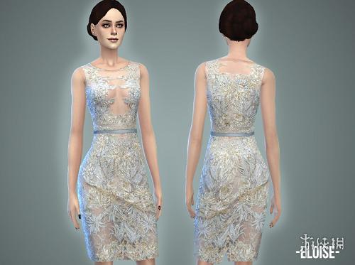 模擬市民4(The Sims 4)v1.31Eloise刺繡鏤空亮片連衣裙MOD