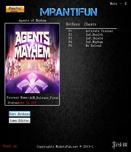 混亂特工(Agents of Mayhem)v20170911十項修改器MrAntiFun版