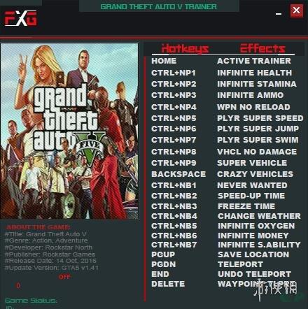 俠盜獵車手5(Grand Theft Auto V)v1.41十九項修改器FutureX版