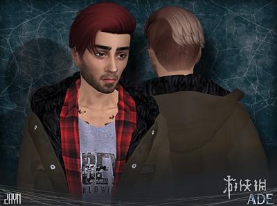 模擬市民4(The Sims 4)v1.31男士側推後梳鍋鏟發型MOD