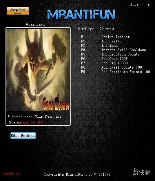 恐怖黎明(Grim Dawn)v1.0.2八項修改器MrAntiFun版