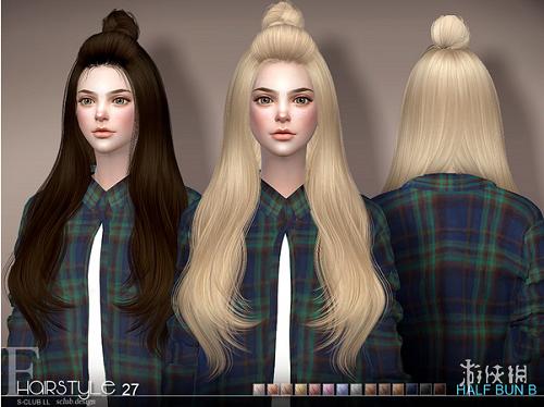 模擬市民4(The Sims 4)v1.31女士中分微卷長發丸子頭MOD