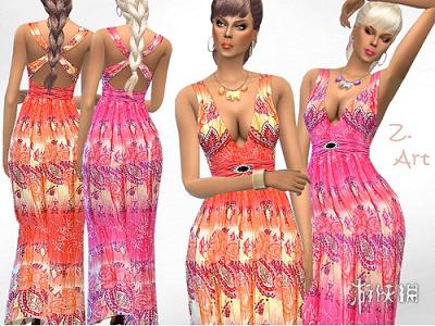 模擬市民4(The Sims 4)v1.31女士印度風印花肩帶長裙MOD