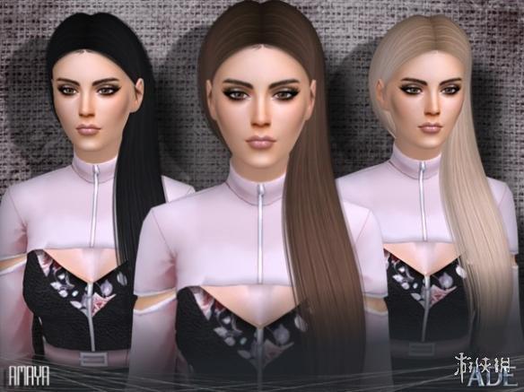 模擬市民4(The Sims 4)v1.31女士中分側披肩長發MOD
