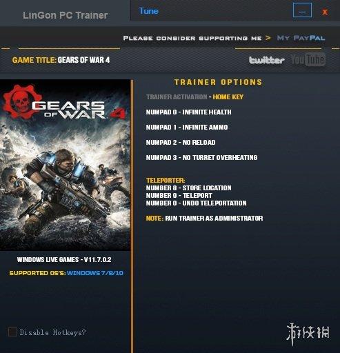戰爭機器4(Gears of War 4)v11.7.0.2六項修改器LinGon版