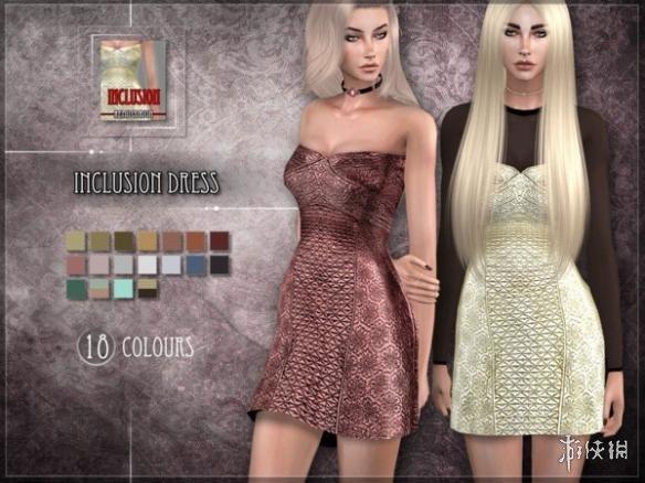 模擬市民4(The Sims 4)v1.31女士蛇皮拉鏈抹胸小短裙MOD