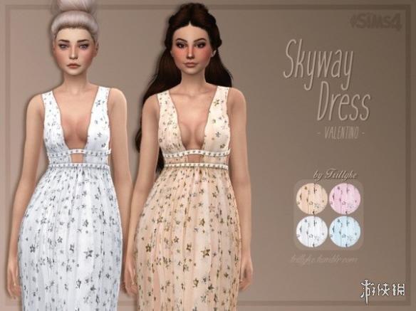 模擬市民4(The Sims 4)Skyway海岸風仙氣寬松低胸碎花長裙MOD
