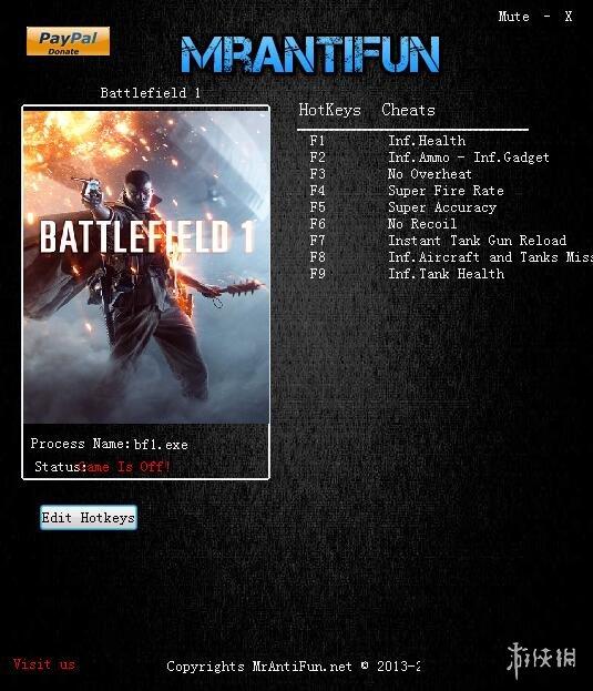 戰地風雲1(Battlefield 1)v16972十項修改器MrAntiFun版