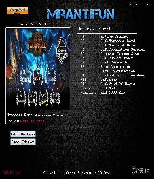 全軍破敵:戰錘2(Total War: WARHAMMER 2)v1.2.0十六修改器MrAntiFun版