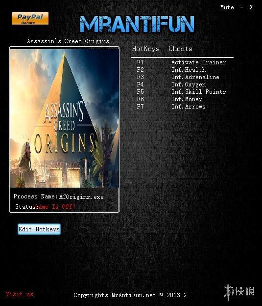 刺客教條:起源(Assassins Creed: Origins)v1.10六項修改器MrAntiFun版