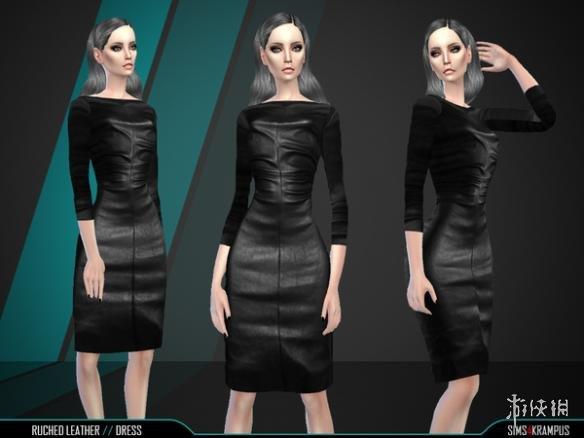 模擬市民4(The Sims 4)v1.31女士商務範褶皺皮革長裙MOD