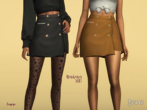 模擬市民4(The Sims 4)v1.31Barbara女士裹臀排扣迷你小短裙MOD