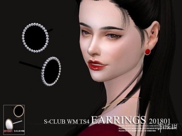 模擬市民4(The Sims 4)S-Club201801女士小鏡子圓珠圈耳釘MOD