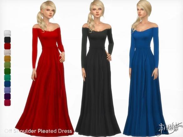 模擬市民4(The Sims 4)女士抹肩低胸褶皺長裙禮服MOD