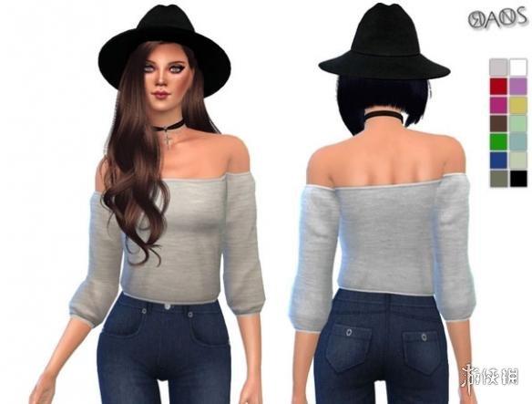 模擬市民4(The Sims 4)女士單色剪裁式簡約抹肩上衣MOD