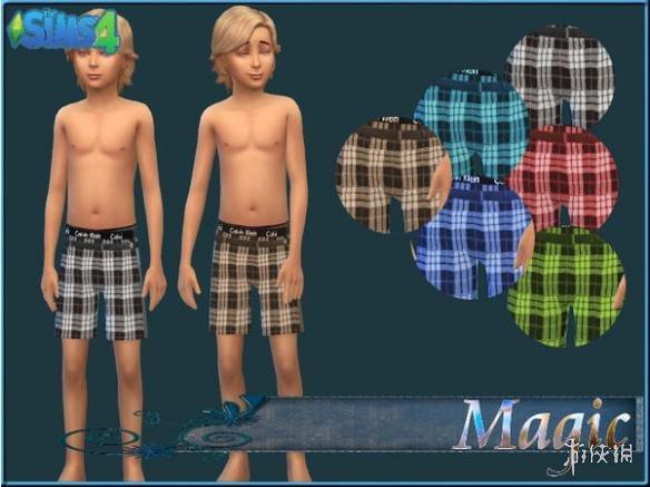 模擬市民4(The Sims 4)男童裝格子短褲整合包MOD