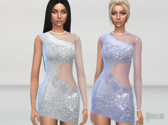 模擬市民4(The Sims 4)女士單肩側透連衣短裙MOD