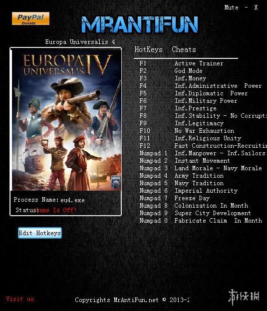 歐陸風雲4(Europa Universalis IV)v1.26.1.0二十五項修改器MrAntiFun版