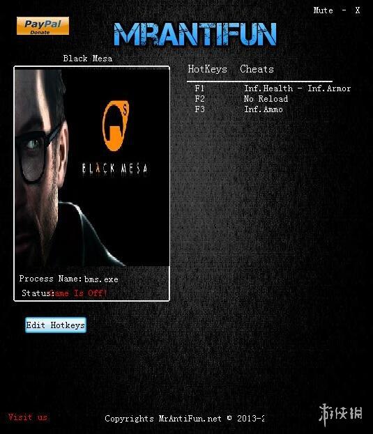 蒙特內哥羅(Black Mesa)v1.01四項修改器MrAntiFun版