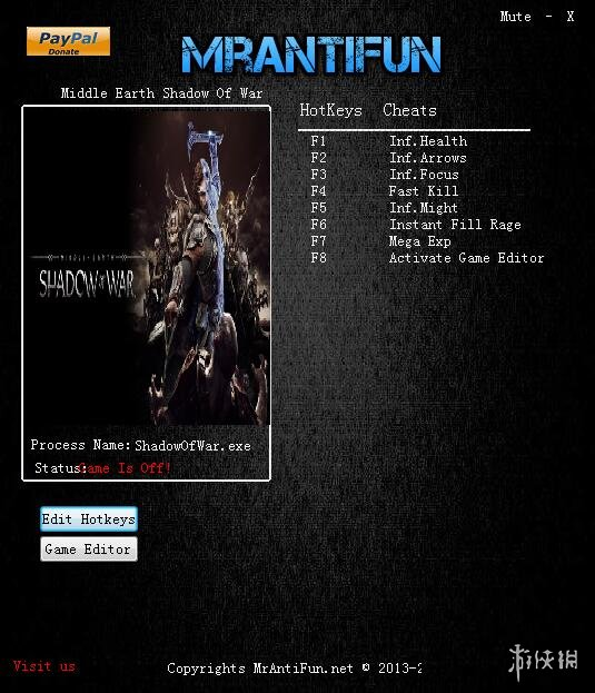 中土世界:戰爭之影(Middle Earth: Shadow of War)v1.17九項修改器MrAntiFun版