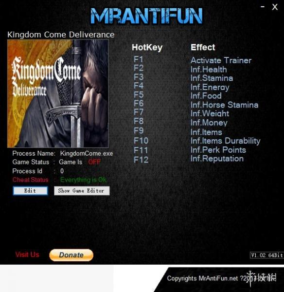天國:拯救(Kingdom Come: Deliverance)v1.6十一項修改器MrAntiFun版