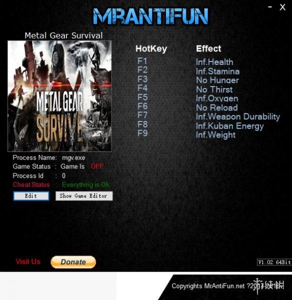 潛龍諜影:幸存(Metal Gear Survive)v1.11九項修改器MrAntiFun版