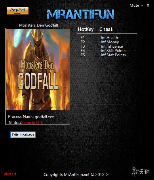 惡魔巢穴:神之隕落(Monsters Den: Godfall)v1.18.5五項修改器MrAntiFun版