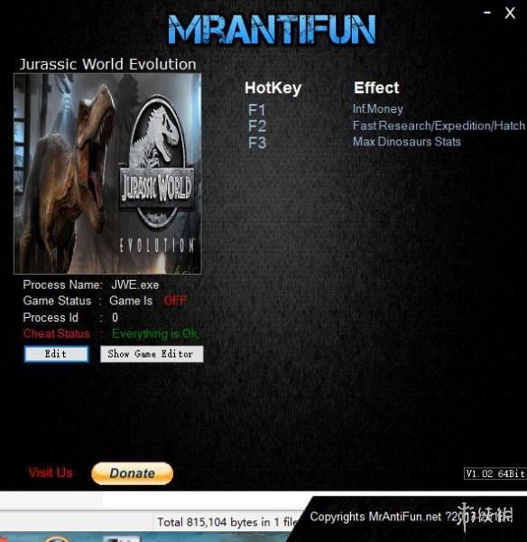 侏羅紀世界:進化(Jurassic World Evolution)v1.0五項修改器MrAntiFun版