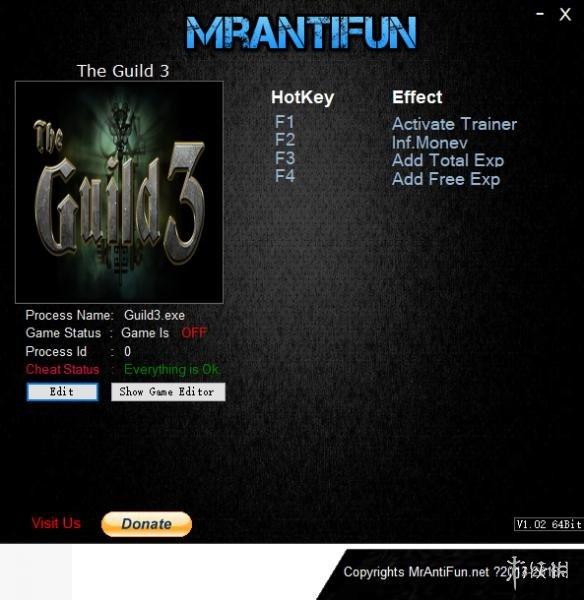 行會3(The Guild 3)v0.5.2三項修改器MrAntiFun版