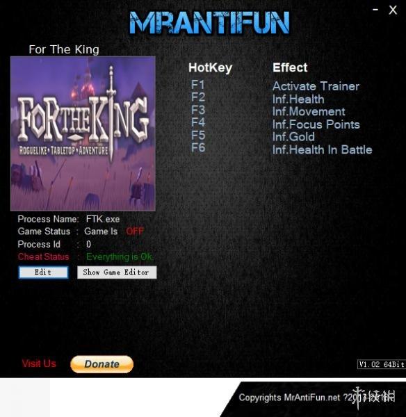 為了吾王(For The King)v1.0.4.8319五項修改器MrAntiFun版
