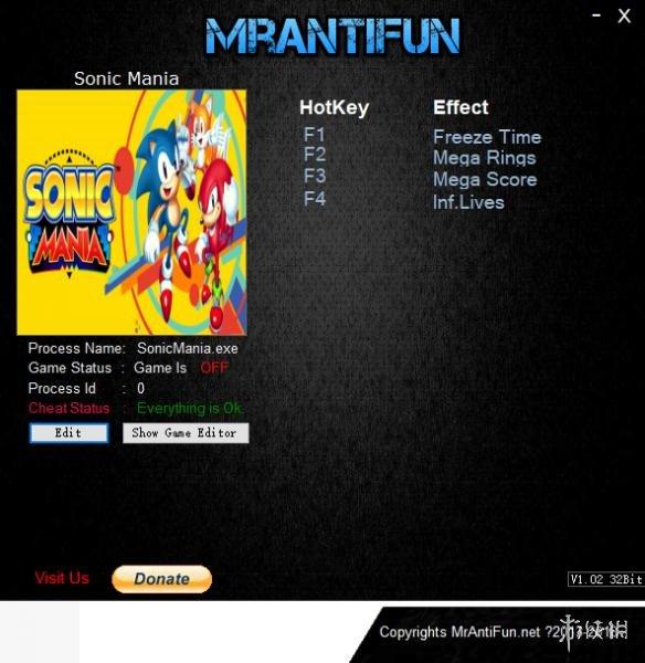 新力克:狂歡(Sonic Mania)v20180629四項修改器MrAntiFun版